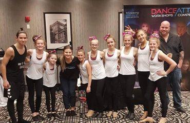 Dance attack workshop dancers from Jennifers Jazz It Up in Port Hope with workshop host Kent McCord