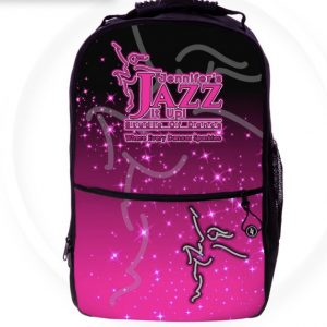 a pink and black jennifer's jazz it up back pack for school or dance