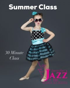 Cute girl in summer party dress advertising JJIU summer dance class in Port Hope and Cobourg