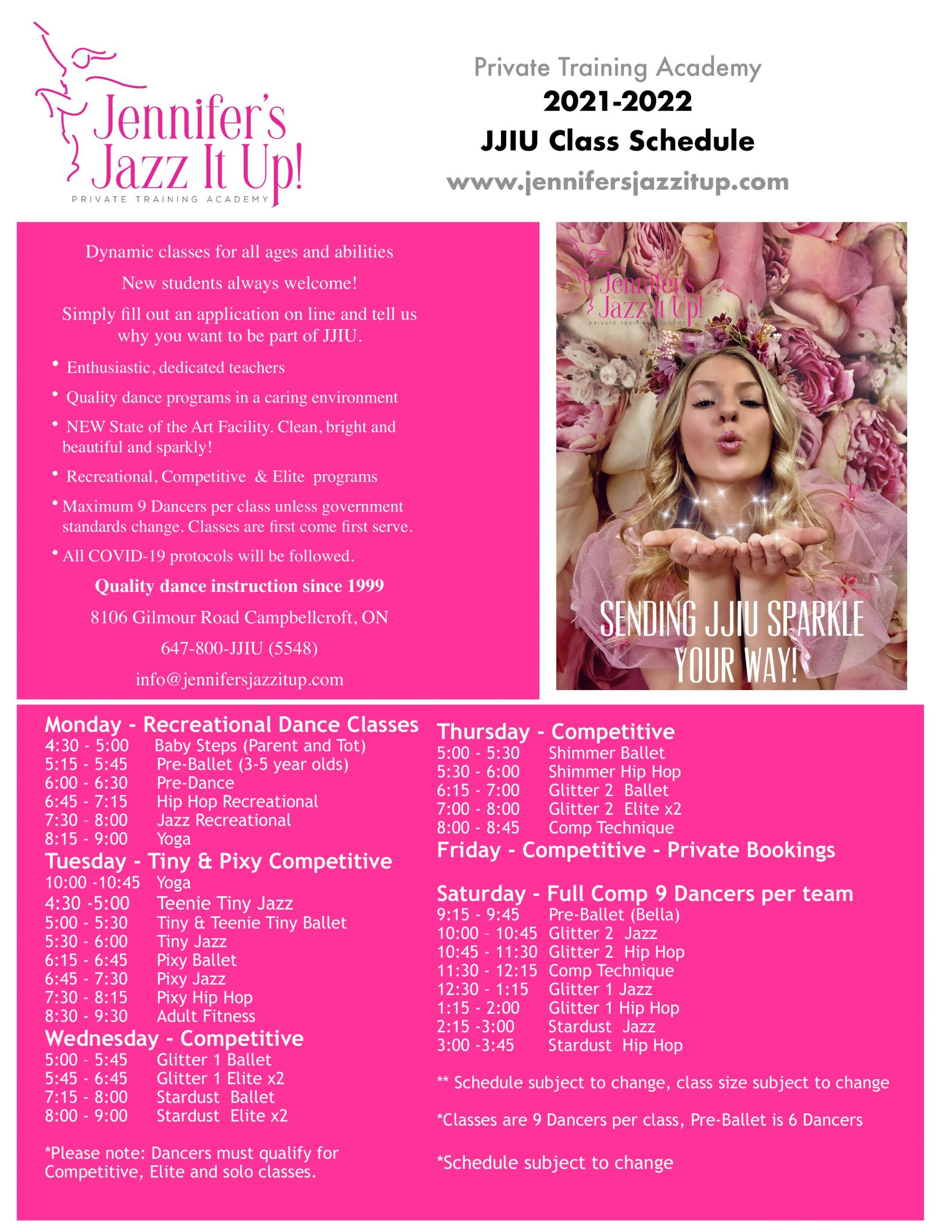 jennifer's jazz it up studio of dance in Port hope and cobourg class schedule